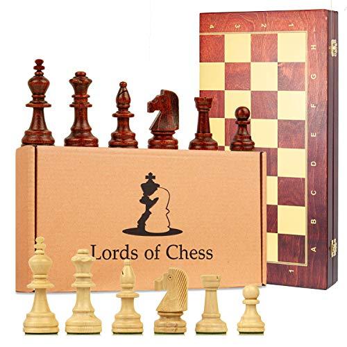 Amazinggirl Schachspiel groß Schach Schachbrett Turnier 48 cm - Staunton 5 Chess Set Tournament hochwertig Holz klappbar Board Schachfiguren für Kinder Erwachsene
