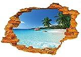 WandSticker4U®- 3D Wandtattoo URLAUBSINSEL I Waldbild: 50x70 cm I Wandsticker Meer Strand Palm Poster Landschaft Mauer Durchbruch I Wand Deko für Wohnzimmer Schlafzimmer Küche Türaufkleber