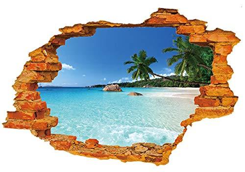 Muursticker4U- 3D muurtattoo's hemel vakantie eiland zee strand zee landschap zonsondergang, decoratie voor woonkamer slaapkamer badkamer wandsticker wandsticker fotobehang poster B: 3d vakantieeiland, M