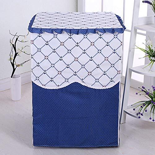 Coprilavatrice Da Esterno Copertura Impermeabile Nera Per Lavatrice E Asciugatrice Di Carica Frontale -Griglia Blu Scuro 60X55X85Cm