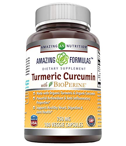 Amazing Formulas Organic Turmeric Curcumin with Bioperine - 750 Mg,180 Veggie Capsule (Non-GMO, Gluten Free) - Made with Organic Turmeric Curcumin - Powerful Antioxidant & Anti-Inflammatory Properties
