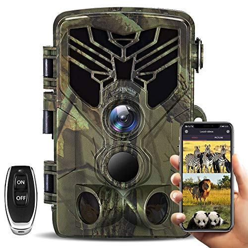 【2020 Upgrade】WiFi Trail Camera 20MP 1080P Waterproof Hunting Scouting Cam with 3 Infrared Sensors, 940nm IR LEDs Night Vision Motion Activated, 120° Wide Angle Lens, 0.2s Trigger Speed with 32GB Card