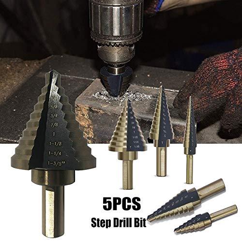 FMN-TOOLS, 5 stks HSS Stap Boor Hoge Snelheid Staal Kobalt Nitriding Spiraal Metalen Boor Driehoek Schacht