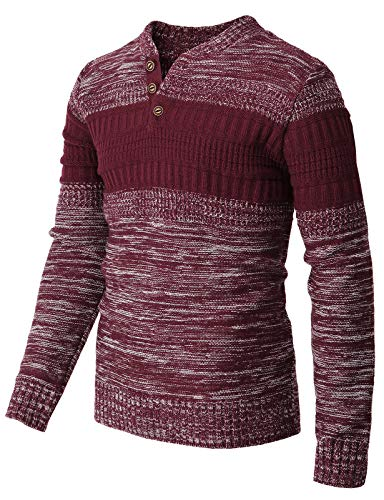H2H Mens Casual Slim Fit Pullover Sweaters Knitted Henley Long Sleeve Thermal WINEWHITE US M/Asia L (CMOSWL043)