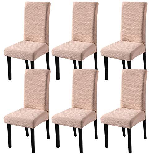 YISUN Universal Stretch Stuhlhussen 4er 6er Set Stuhlbezug für Stuhl Esszimmer (6er Set, Kamel)