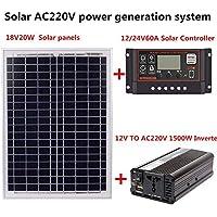Adminitto88 Sistema de generación de energía Solar - AC220V 1500W 18V20W Panel Solar + Controlador Solar + Equipo inversor Equipos y Suministros eléctricos Generador y Suministros
