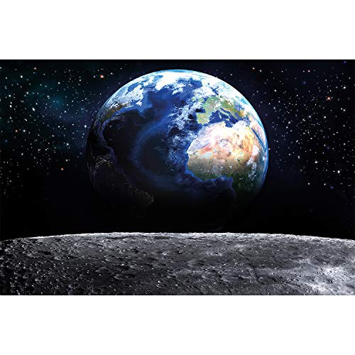 GREAT ART Fototapete – Planet Erde – Wandbild Dekoration Welt Earth Mond Galaxy Universum All Cosmos Space Weltkugel Sterne Moon Weltall Orbit Foto-Tapete Wandtapete (210 x 140 cm)
