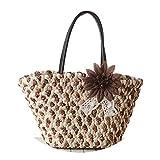 Beach Bags Handbag Handmade Straw Women Big Casual Fashion Soft Women Shoulder Bag With Zipper Summer 2019 Female Hand Bag,Brown