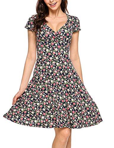 Zeagoo Damen Sommerkleider Wickelkleid Partykleid Vintage Blumen Kleid V-Ausschnitt Kurzarm Knielang Blau XXL