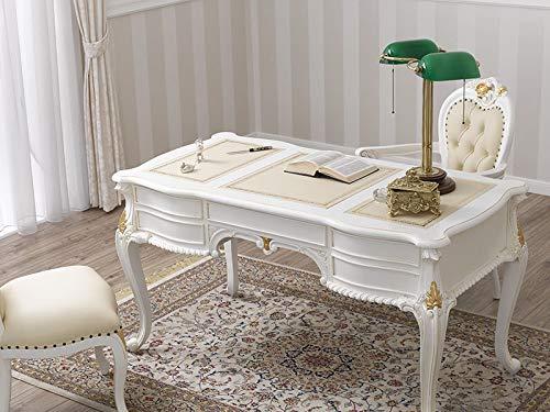 SIMONE GUARRACINO LUXURY DESIGN Schreibtisch Diana Chippendale Stil Decape cm 180 elfenbeinweiß und Blattgold Kunstleder Champagner