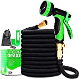 Expandable 100ft Garden Hose | New 2021 Superior Strength Lightweight Water Hose 100ft | Retractable Non Kink Flexible Black Hose | Solid Leak Proof 3/4 Inch Brass Connectors |10 Function Sprayer