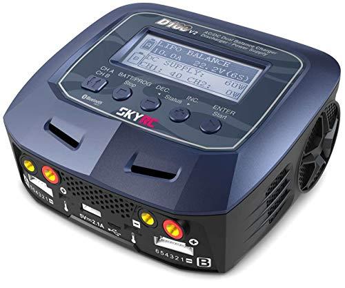 SkyRC D100 V2 Batterieladegerät für den Hausgebrauch, schwarz, blau, 110-240, 20 W, 11-18, 153 mm, 140 mm