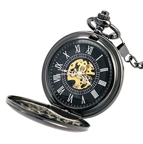 Taschenuhr TU36 zum Aufklappen mit Schlichter Vor- und Rückseite und Kette zum Befestigen an der Hose von Kobert Goods