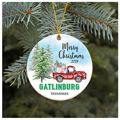 3' Christmas Ornament 2019 Gatlinburg Tennessee TN Christmas Decoration Funny Gift Christmas Together First Christmas as a Family Couples Gifts Boyfriend Girlfriend, Keepsake Gift, Xmas Ornament