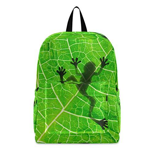 Linomo - Mochila ligera con diseño de rana verde, para camping, senderismo, viajes, escuela, para niños, niñas, hombres y mujeres