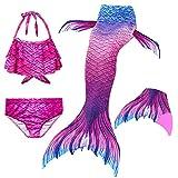 Le SSara 2018 New Muchachas Sirena Tails Bikini Traje de baño 4PCS Traje de baño con Aleta para Nadar Cosplay (140, GB07-Pink)