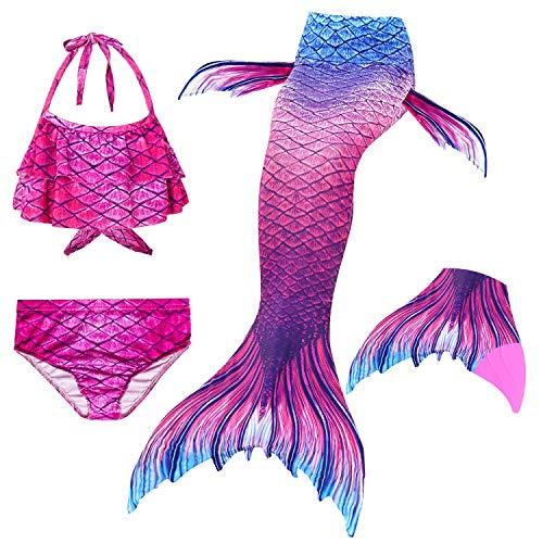 Le SSara 2018 Mädchen Meerjungfrau Tails Bikini Badeanzug setzt 4 Stücke Bademode mit Flosse für Schwimmen Cosplay Partei (120, GB07-Pink)