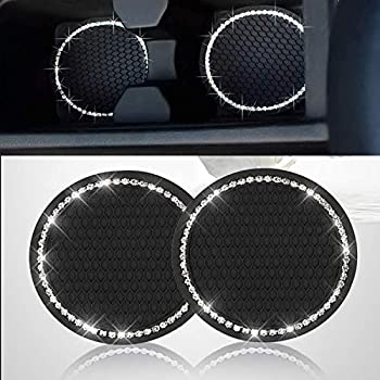 2PCS Bling Car Cup Coaster Bling Car Accessories 2.75 inch,Rhinestone Anti Slip Insert Coaster Suitable for Most Car Interior Car Bling for Women,Party,Birthday  Black