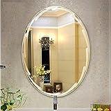 AYYEBO Espejo Pared Sin Marco Pulido Biselado Ovalado Espejos Baño 5mm/ 8mm para Sala Estar con Tocador Entrada Se Cuelga Horizontal/Vertical (Color : 5mm, Size : 45x60cm)