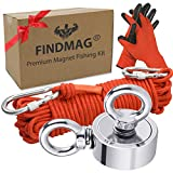FINDMAG Double Sided Magnet Fishing Kit, Fishing Magnets 450 lbs Pulling Force Super Strong Rare Earth Neodymium Magnet for Magnetic Fishing, Perfect for Retrieving in River, Lake, 1.88' Diameter