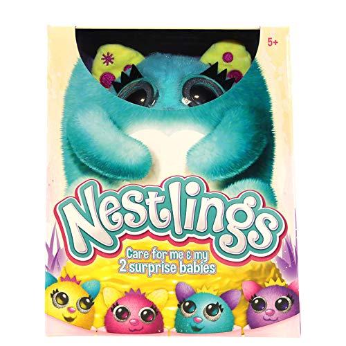 Nestlings Celeste, Mascota interactiva. Cuídala y sus bebés nacerán. Disponible en Rosa y Azul , color/modelo surtido