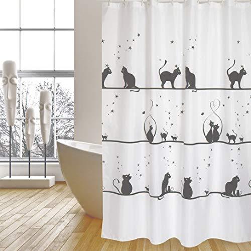 """MSV Cotexsa by Premium Anti-Schimmel Textil Duschvorhang - Anti-Bakteriell, waschbar, 100% wasserdicht, mit 12 Duschvorhangringen - Polyester, """"Katze"""" Weiß 180x200cm – Made in Spain"""