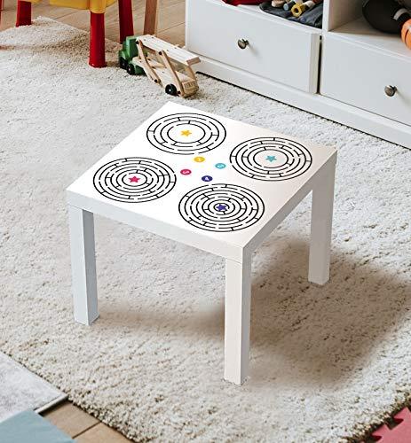 MyMaxxi | Aufklebefolie Möbelfolie Labyrinth 03 Spielfolie für IKEA Lacktisch 55 x 55cm Stadtleben Aufkleber Sticker Kinderzimmer Spieltisch Brettspiele selbstklebend