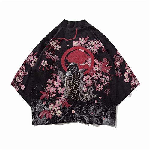 Japanischer Dämon Kimono Männer Cardigan Shirt Yukata Mann Obi Kleidung Tradition Kleidung Männlich China Kimono Robe-70018_XXL