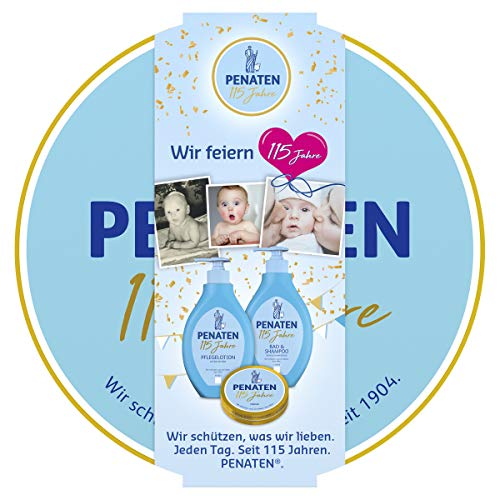 Penaten Baby Pflege Geschenkset in der 115 Jahre Edition, mit Pflegelotion, Bad & Shampoo und Creme, 1 x 3er Geschenkbox