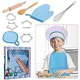 RosewineC Kochset für Kinder 11 Stücke Koch und Backset für Kinder Chef Rolle Spielen Kostüm Set Küchenkostüm Rollenspiele Kinder Schürze mit Kochmütze...