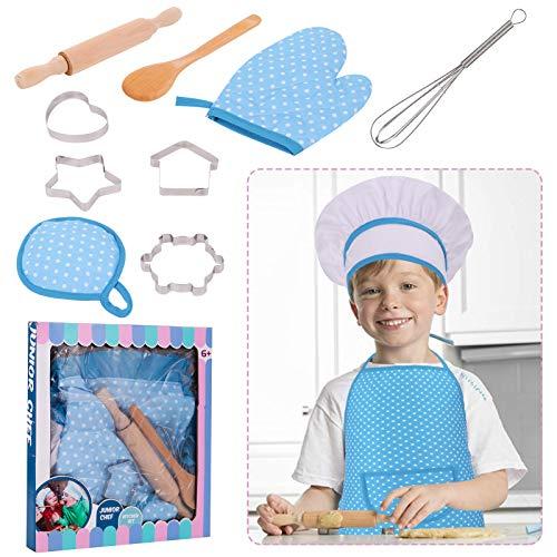 RosewineC Set de cocina para nios, 11 piezas, juego de chef y horneado, para nios, chef, juego de disfraces, juego de rol, delantal con gorro de cocinero, manopla y cortador (azul)