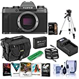 Fujifilm X-T200 Mirrorless Digital Camera Body, Dark Silver - Bundle with Camera Case, 64GB SDXC Card, Spare Battery, Compact Charger, Tripod, Cleaning Kit, Memory Wallet, Card Reader, Software Pack