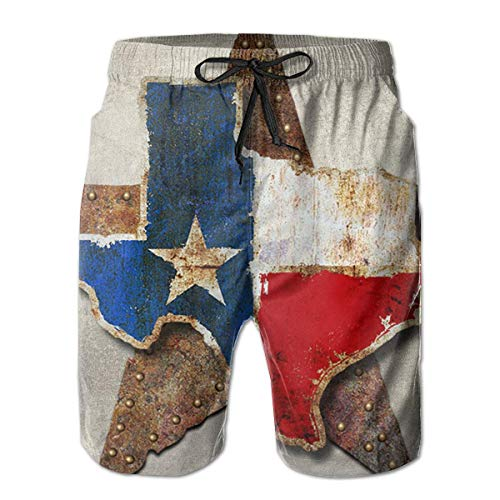 Jieaiuoo Male Novelty Swimwear Swimtrunks Texas Flag Water Resistant Exercise Outdoors Beach Summer with Pockets XL