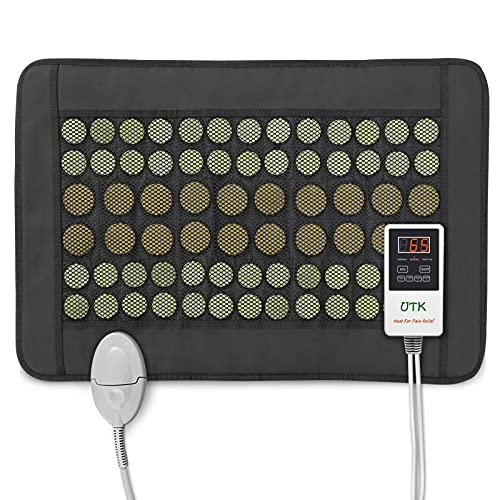 UTK Ferninfrarot-Heizkissen für den Rücken, Heizkissen mit natürlichen Jade- und Turmalinsteinen Small Pro (23,5'' x 16'') mit Smart-Controller, Speicherfunktion, automatischer Abschaltung