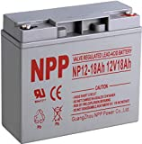 NPP NP12-18Ah 12V 18 Ah 12Volt Rechargeable SLA Battery for UPS Electric Scooter, Replaces Pride Mobility Go-Go Elite Battery,UB12180 FM12180 6fm18 with Button Terminals