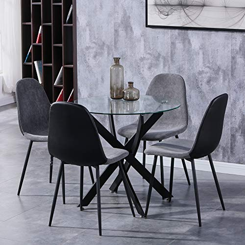 GOLDFAN Esstisch und 4 Stühle Glas runder Tisch und Grau Stuhl Esszimmergruppe für Wohnzimmer Küche Büro