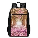 Qfunny The Romantic Tunnel of Pink Flower Trees Mochila Escolar Mochila de Viaje Bolsa para portátil de 17 Pulgadas