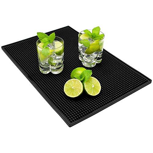 EOZY-Tappetino per Bancone da Bar Mat in PVC Poggia Bicchiere Barman Nero (45 * 30cm)