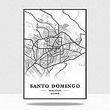 Ecuador Santo Domingo Mapa De La Ciudad Impresión De Lienzo,Verticales Blanco Y Negro Pared Arte Pintura Lienzos Decorativos Adecuado Para Cuadros Dormitorios,Cuadros Decoracion Salon Modernos,50X70