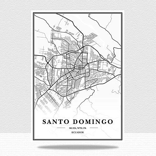 Cuadro En Lienzo,Ecuador Santo Domingo Mapa De La Ciudad Impresión Negro Y Blanco Minimalista Texto Abstracto Impresión Lienzo Mural Pintura Estudio Sala De Estar De Oficina Decoración, 70 * 1