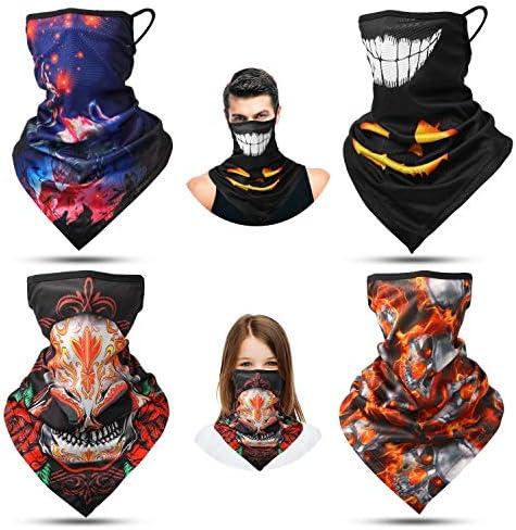 4 Pieces Ear Loop Bandanas Headwear Skeleton Pumpkin Neck Gaiters Balaclavas Scarf for Outdoor product image