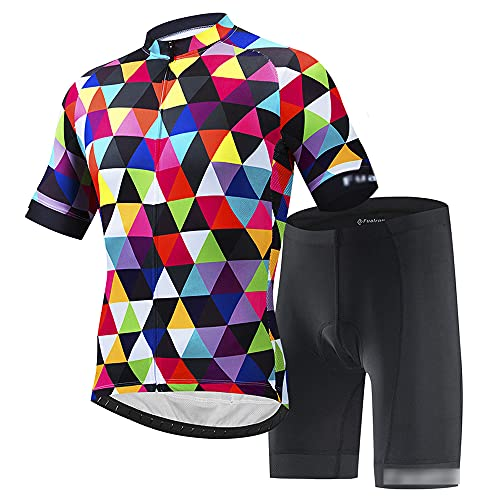 JQKA Ropa de Ciclismo Equipos de Ciclismo al Aire Libre para Hombres Bicicleta Ropa Deportiva Camisa de Manga Corta de Verano + Pantalones Cortos (Size:6X-Large,Color:Multicolor)