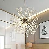 GOODYI Firework Chandeliers, Silver Crystal Sputnik Light Fixture with 8-Light Hanging Light Fixtures Modern Chandelier Ceiling Lights for Living Room Dining Room Restaurant Bedroom
