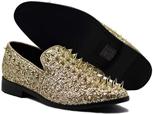 SPK16 Men's Vintage Spike Dress Loafers Slip On Fashion Shoes Classic Tuxedo Dress Shoes (12 D(M) US, Gold)