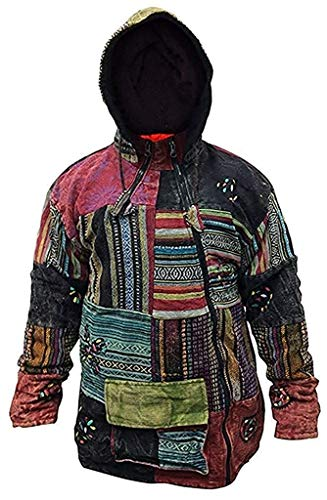 Shopoholic FASHION HERREN Patchwork aus Fleece Kreuz Reißverschluss Jacke - Mehrfarbig, Large