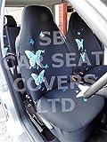r – passend für Kia Picanto Auto-Sitzbezüge, Rossini hohe Rückenlehne, blauer Schmetterling