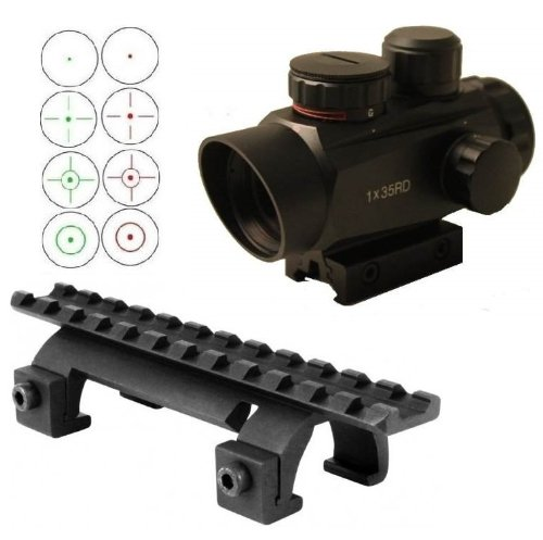 Ultimate Arms Gear Tactical GSG 5 GSG-5 GSG522 German Sport Gun CETME And Clones Submachine Gun Rifle Rail Claw Scope Sight Mount + CQB 1x35 Reticle Red Green Illuminated Reflex Sight With Sunshade