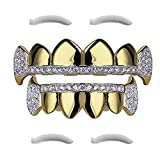24K Plated Joker Gold Grillz for Mouth Top Bottom Hip Hop Teeth Grills for Teeth Mouth + 2 Extra Molding Bars, Storage Case + Microfiber Cloth (Gold Micropave Fangs Style 2)