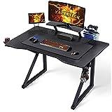 Yaheetech Mesa Gaming Mesa de Ordenador Escritorio Ergonómica con Superficie Grande Gancho Almohadilla de Ratón 111 × 71 cm Forma K