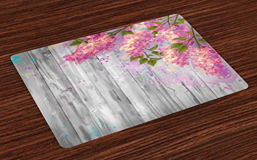 Lunarable Flower Place Mats Set of 4, Floral Watercolor Style Effect Branches of Lilac Bloom on Wooden Background Print, Washable Fabric Placemats for Dining Table, Standard Size, Grey Pink